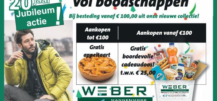 Gratis Jubileumdoos bij nieuwe outfit: Weber Mannenmode 20 jaar