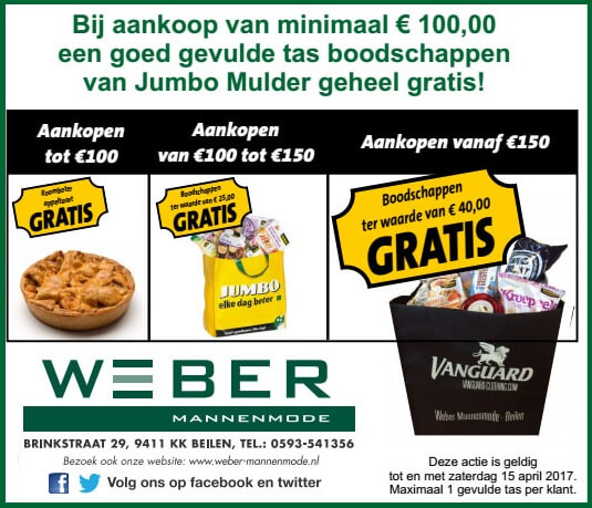 Goed gevulde boodschappentas van Jumbo Mulder bij Weber Mannenmode